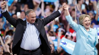 Hillary Clinton and running mate Tim Kaine